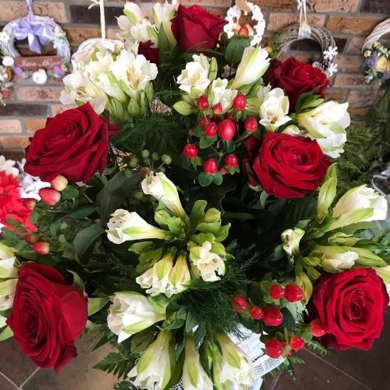 Kytica ruže+alstromérie